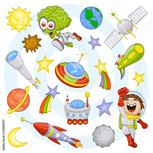Plexiglas Kosmos Cartoon outer space set