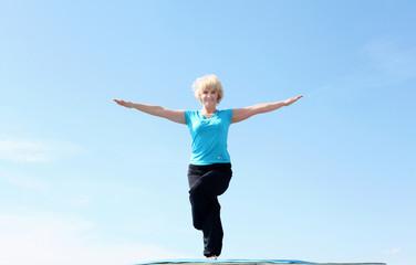 Portrait of a senior woman doing yoga