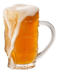 Glass of unfiltered beer isolated on a white