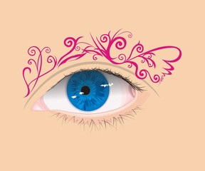 Vector eye with floral eyebrow
