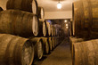 port wine ages in barrels in cellar