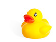 Cute yellow rubber duck isolated over white background