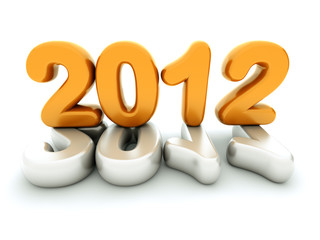 3d new year 2012 shape on white background