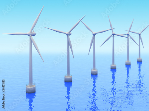 Many Windmills on sea. Renewable energy 3d concept