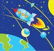 Illustration in cartoon style - Rocket fly over the earth