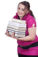 young fat woman student with pile of books
