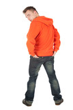 young man in orange sweatshirt, full length, series