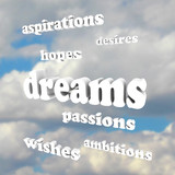Dreams - Words in Sky for Hopes, Passions, Ambitions poster
