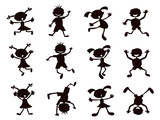 Fototapety black cartoon kids silhouette