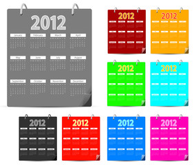 set of colorful 2012 calendar isolated on white background