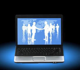 business people team on a laptop