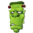 Frankenstein Halloween Cartoon Monster Head-Vector