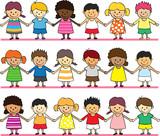 happy children holding hand