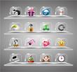 Website Internet Icons ,Transparent Glass Button.
