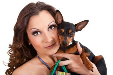 woman with her puppy
