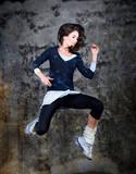 Dancing woman, jumping up.