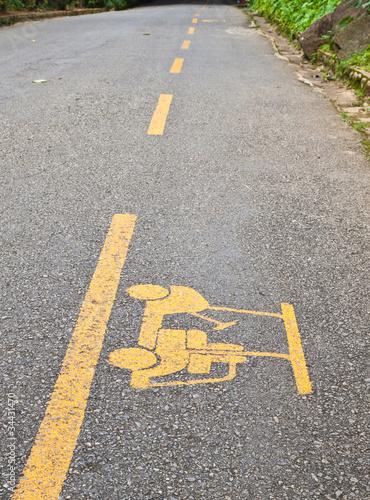 Golf cart road sign