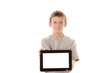 Young boy holding tablet pc