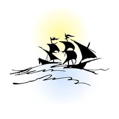 Pirate boat silhouette