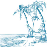 Fototapety Tropical beach with palm trees and hammock