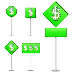 set of abstract dollar green road sign isolated on white