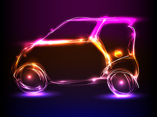 car neon light design