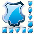 Set of security shield, coat of arms symbol icon, blue