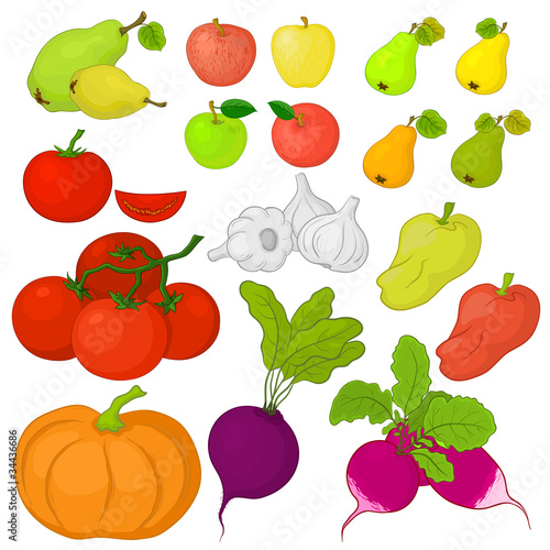 Vegetables and fruits, set