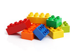 Building blocks on a white background