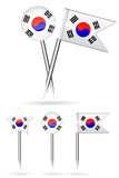 Korea flag and round pin isolated on white background