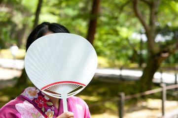 a portrait of japanese kimono woman
