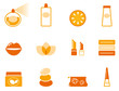 Wellness, spa and cosmetic icons set ( orange ). Vector