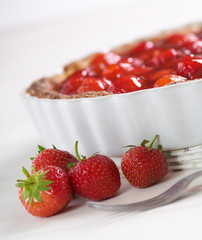 sweet strawberry pie on a white table