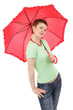 woman and red umbrella