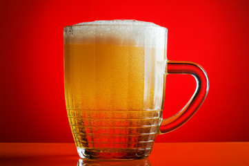 beer on red background