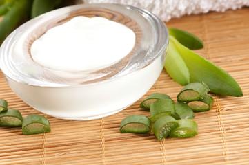 aloe vera - leaves and face cream