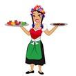 ungarische Kellnerin mit Salami und Kesselgulasch