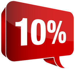 "Red Speech Bubble ""10%"""