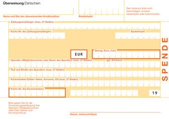 Spende (19) Überweisungsträger Maschinenlesbar Vektor Vorlage