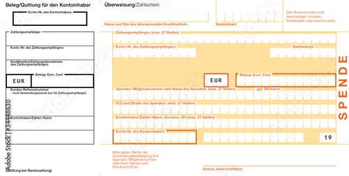 Spende (19) Quittung links Vektor Vorlage Überweisungsträger