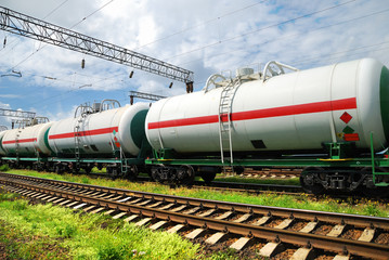 tank cars with oil