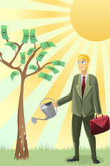 Businessman watering money tree
