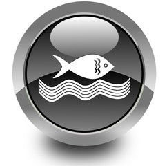 Fishing glossy icon