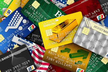 Pile of fake credit cards with fake banks, names and numbers