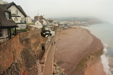 thatched houses above Sidmouth beach
