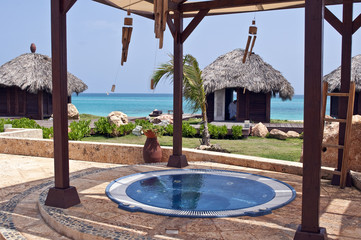 Jacuzzi and massage huts in the Caribbean.