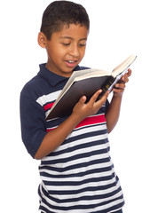 Child Happy Because He is Reading the Scriptures