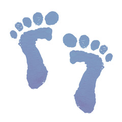 Baby feetprint in soft blue paint