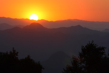 Sunset of mountains