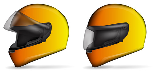 set of yellow motorcycle helmet isolated on white